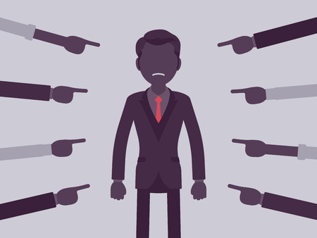 Shame on you, guilty man. Male manager in painful feeling of humiliation or distress, wrong foolish behaviour, loss of respect, dishonour pointed by fingers. Vector illustration, faceless characters
