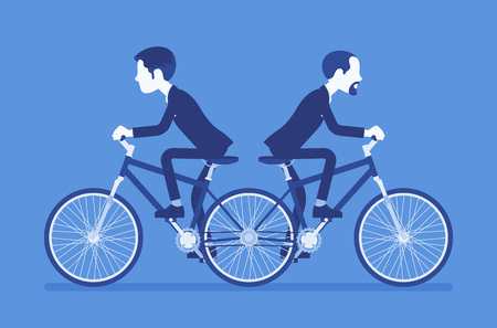 Businessmen riding push me pull you tandem bicycle. Male ambitious managers in disagreement, unable working together moving in different ways. Vector illustration, faceless characters