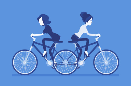 Businesswomen on push me pull you tandem bicycle. Female ambitious managers in disagreement, unable working together moving in different ways, unproductive. Vector illustration, faceless characters Çizim