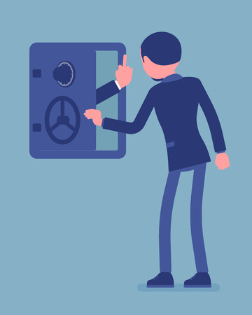 Businessman facing bankruptcy in empty safe deposit box. Negative hand gesture from bank showing business liquidation and financial failure, sudden collapse. Vector illustration, faceless characters