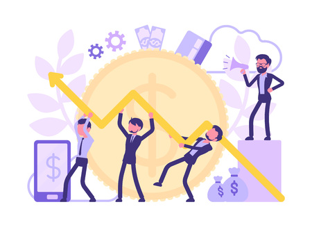 Economist team working together. Male efficient experts in economics start corporate development to increase business productivity, data chart. Vector abstract illustration with faceless character 向量圖像