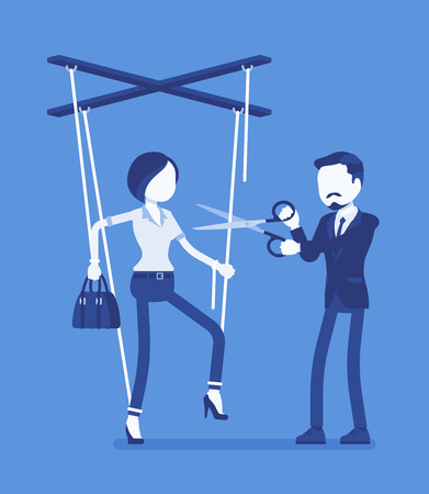 Marionette businesswoman free from slavery. Woman liberation, girl got personal rights after influence and control, man cutting doll strings with scissors. Vector illustration, faceless characters Illustration