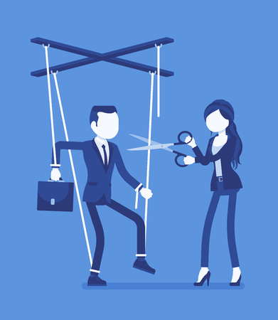 Marionette businessman free from oppression. Man liberation, guy enjoying personal rights after influence, control, woman cutting doll strings with scissors. Vector illustration, faceless characters