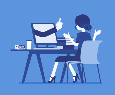 Woman got lost at computer. Discouraged female manager working to achieve nothing, negative gesture on monitor showing the loss of all hope, business result. Vector illustration, faceless character