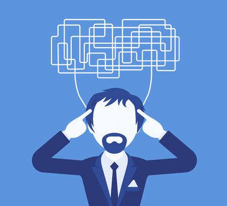 Hombre con pensamientos confusos incapaces de pensar con claridad para tomar una decisión. Ideas complicadas y caóticas en desorden, gerente perplejo con las tareas, cabeza llena de problemas. Ilustración vectorial, personaje sin rostro