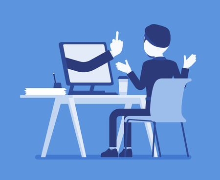 Man getting lost at computer. Discouraged male manager working to achieve nothing, negative gesture from monitor showing the loss of all hope, business result. Vector illustration, faceless character