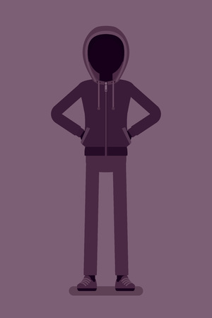 Anonymous silhouette with hidden face. Hacker dark abstract body, covered with hood, online person not identified by name, unknown faceless user, incognito with evil intentions. Vector illustration