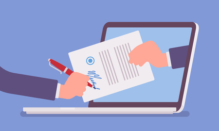 Electronic signature on laptop. Business Esignature technology, digital form attached to electronically transmitted document, verification of intent to sign agreement, legal deal. Vector illustration Çizim