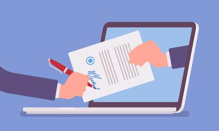 Podpis elektroniczny na laptopie. Technologia Business Esignature, formularz cyfrowy dołączony do dokumentu przesyłanego drogą elektroniczną, weryfikacja woli podpisania umowy, transakcja prawna. Ilustracja wektorowa