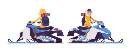 Randonnée hivernale femme chevauchant une motoneige. Touriste féminine avec équipement de randonnée, portant une veste lumineuse, une capuche, des chaussures professionnelles. Illustration de dessin animé de style plat vecteur isolé sur fond blanc