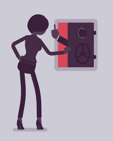 Businesswoman facing bankruptcy in empty safe deposit box. Negative hand gesture from bank showing business liquidation and financial failure, sudden collapse. Vector illustration, faceless characters