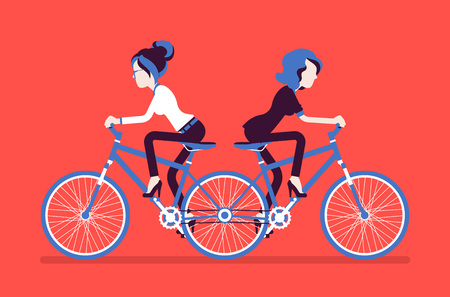 Businesswomen on push me pull you tandem bicycle. Female ambitious managers in disagreement, unable working together moving in different ways, unproductive. Vector illustration, faceless characters Иллюстрация