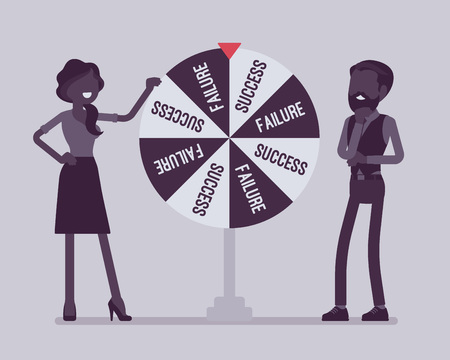 Wheel selecting random changes of failure or success. Conclusion or resolution reached after gambling for luck, future chosen by chance, business development. Vector illustration, faceless characters Ilustracja