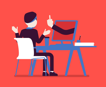 Man getting lost at computer. Discouraged male manager working to achieve nothing, negative gesture from monitor showing the loss of all hope, business result. Vector illustration, faceless character Vektoros illusztráció