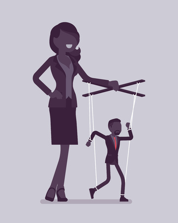 Marionette businessman manipulated and controlled by female puppeteer. Male manager under boss influence, strong woman with authority operates a weak man. Vector illustration, faceless characters