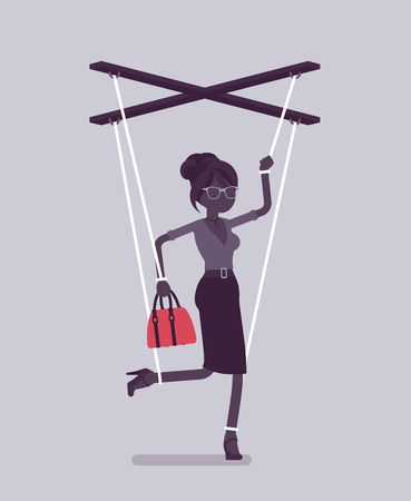 Marionette businesswoman, manipulated controlled puppet worked by strings. Female manager under boss influence, power to perform business orders, make decision. Vector illustration, faceless character