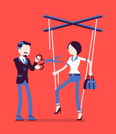 Marionette businesswoman free from slavery. Woman liberation, girl got personal rights after influence and control, man cutting doll strings with scissors. Vector illustration, faceless characters Ilustrace