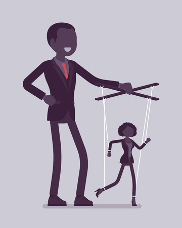 Marionette businesswoman manipulated and controlled by male puppeteer. Female manager under boss influence, strong man with authority operates a weak woman. Vector illustration, faceless characters