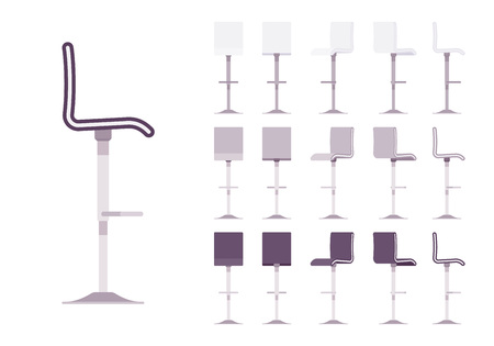 High barstool set. Adjustable dinning chair, stylish cafe and restaurant furniture, kitchen area element. Vector flat style cartoon illustration isolated on white background, different views, colors