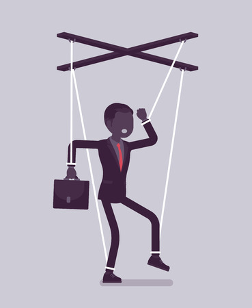Marionette businessman, manipulated or controlled puppet worked by strings. Male manager under boss influence, power to perform business orders, make decisions. Vector illustration, faceless character Foto de archivo - 122040148