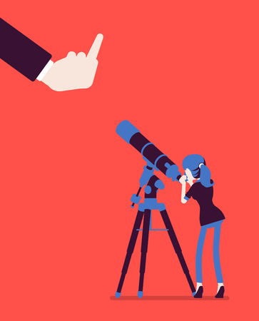 Businesswoman seeing no expectation of good or success. Female manager watching telescope for prediction, viewing bad business development, poor outcome, negative future prognosis. Vector illustration