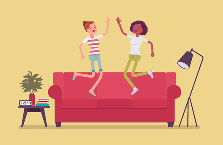 Roommate friends enjoy living together. Happy young girls occupying same flat, house or room, students share rented apartment, jumping on a coach in hostel, comfortable lodging. Vector illustration