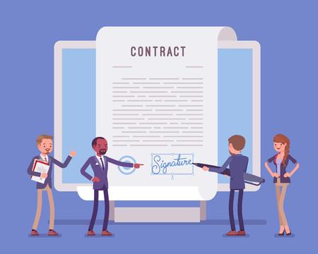 Firma de documento electrónico, página de contrato en pantalla. La gente de negocios firma papel oficial, acuerdo formal, empresario con bolígrafo gigante poniendo nombre como forma de identificación. Ilustración vectorial
