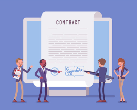 Electronic document signature, contract page on screen. Business people sign official paper, formal agreement, businessman with giant pen putting name as a form of identification. Vector illustration Vectores