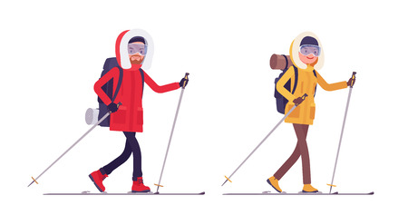 Winter hiking man, woman skiing. Male, female tourist, skier with backpacking gear, wearing bright jacket, professional footwear Vector flat style cartoon illustration isolated on white background