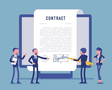 Electronic document signature, contract page on screen. Business people sign official paper, formal agreement, businessman with giant pen putting name. Vector illustration, faceless characters