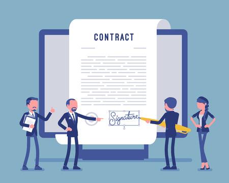 Firma elettronica del documento, pagina del contratto sullo schermo. Gli uomini d'affari firmano carta ufficiale, accordo formale, uomo d'affari con una penna gigante che mette il nome. Illustrazione vettoriale, personaggi senza volto Vettoriali