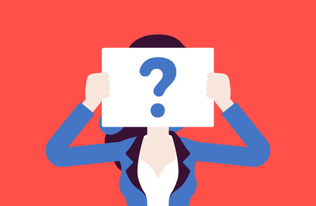 Anonymous woman with question mark. Female person not identified by name, unknown faceless user, incognito with concealed profile, business secrecy, obscurity, blind date partner. Vector illustration Illustration
