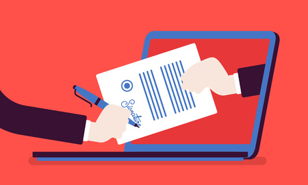 Electronic signature on laptop. Business Esignature technology, digital form attached to electronically transmitted document, verification of intent to sign agreement, legal deal. Vector illustration Illustration