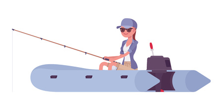Hiking woman fishing in inflatable boat. Female tourist travelling over water, wearing clothes for outdoor sporting, leisure activity. Vector flat style cartoon illustration isolated, white background Stock Vector - 122432207