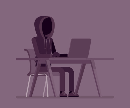 Anonymous man with hidden face at laptop. Hacker dark abstract body, covered with hood, online person not identified by name, unknown faceless user, incognito with evil intentions. Vector illustration