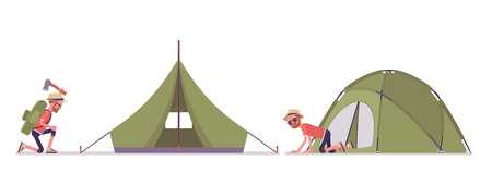 Hiking man setting up a tent. Male tourist with backpacking gear, wearing clothes for outdoor walks, sporting or leisure activity. Vector flat style cartoon illustration isolated, white background
