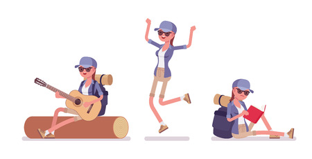Hiking woman in camp with guitar. Female tourist with backpacking gear, wearing clothes for outdoor walks, sporting, leisure activity. Vector flat style cartoon illustration isolated, white background Illustration