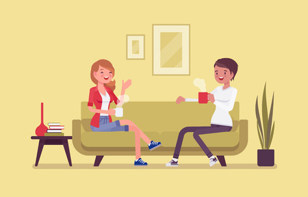 Roommate friends enjoy living together. Happy young girls occupying one flat, house, room, students share rented apartment, relax sitting on a coach in hostel, comfortable lodging. Vector illustration
