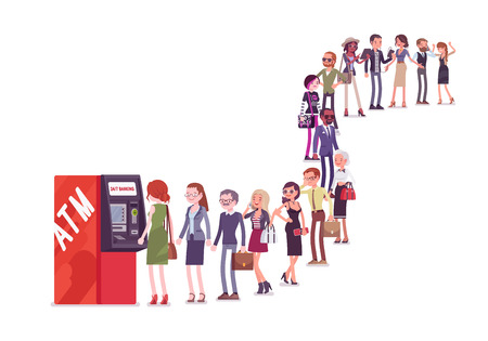 Group of people queuing in a line near ATM. Members of different nations, sex, age, jobs standing together waiting for bank service. Vector flat style cartoon illustration isolated on white background Ilustracja