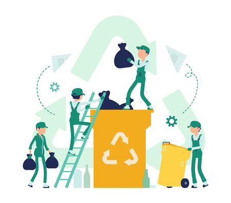 Recycling process, converting waste into reusable material. Group of young people collecting and changing old paper, glass, plastic, volunteering. Ilustração