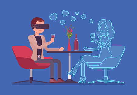 Virtual date in restaurant. Young man wearing VR headset meeting with not real woman, oculus gaming system for entertainment, computer technology to create simulated environment.