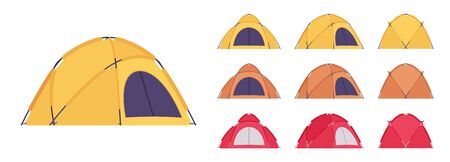Dome tent set. Outdoor active sport and camping, sun shelter for travel, fishing or picnic equipment. Ilustrace