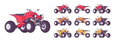 ATV transport set. All terrain motorized vehicle, off highway four wheeler for dunes, trails or track. Vector flat style cartoon illustration isolated on white background, different views and color  イラスト・ベクター素材