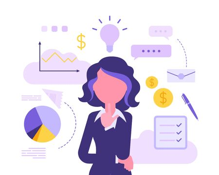 Businesswoman thinking about new project. Business inspiration for creative female manager, entrepreneur with great idea for financial gain in mind.