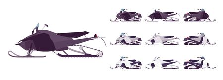Snowmobile transport set. Motor sled, vehicle for extreme travelling on snow and ice, winter recreation. Ilustrace