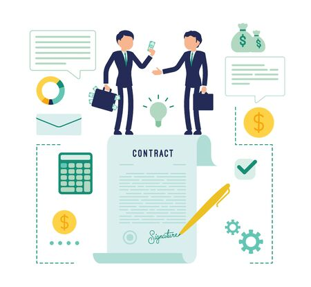 Businessmen making contract agreement. Male managers signing legal document for corporate partnership, making business deal to start new project.