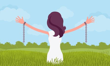Unchained woman with stretched out arms, rear view. Young girl with removed chains set free, feeling personal power, freedom, liberation from slavery, restraint. Vector flat style cartoon illustration Vektoros illusztráció