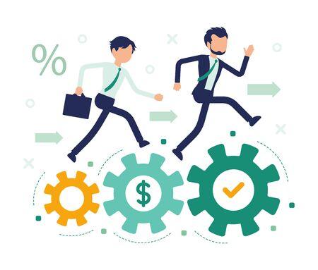 Business-Wettbewerb Rennen. Unternehmerwettbewerb, Unternehmen und Einzelpersonen im Wettbewerb um die Marktführerschaft, professionelle Unternehmensrivalität. Abstrakte Vektorgrafik mit gesichtslosem Charakter Vektorgrafik