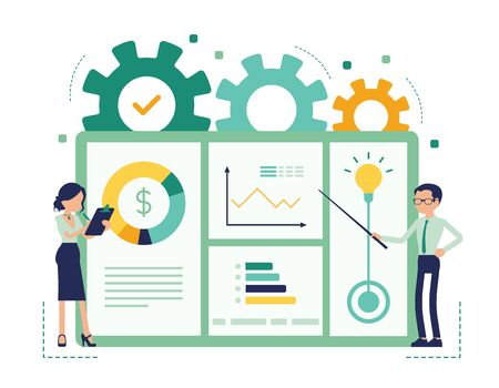 Presentation for business. Businessman and businesswoman giving corporate or marketing information, demonstrating, showing company results, plan. Vector abstract illustration with faceless character Ilustrace