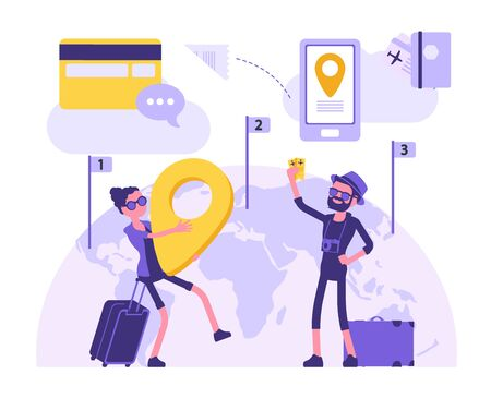 Travelling people make a journey. Male and female tourists with luggage for holiday trip holding giant navigation map pointer. Vector abstract illustration with faceless character, map background Ilustrace